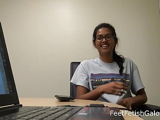 Indian Petite College Students Red Feet Soles Preview